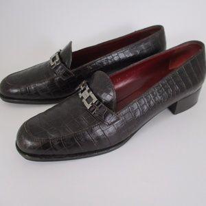 Ferragamo Brown Mock Croc Leather Loafers Heel 9.5